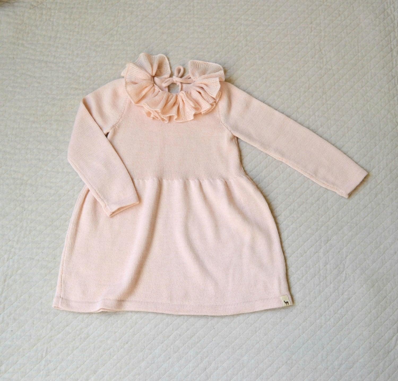Ruffle collar dress knitted baby alpaca dress rose knit dress