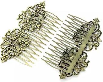 2 pcs Hair Combs,Antique Bronze ,Flower Hair Comb, bridal hair comb, hair kit, hair accessories, brass hair comb, wedding hair comb,supplies