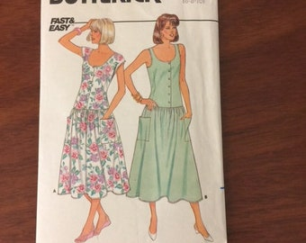 "SUMMER DRESS PATTERN, Butterick sizes 6-8-10, scoop neck, full skirt dress with or without sleeves from 1986, ""Fast & Easy"" to make!"