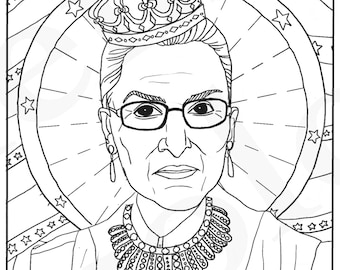 Ruth Bader Ginsburg, RBG, Supreme Court Justice, Feminist Coloring, Portraits, Coloring Pages for Adults, Colouring Pages, PDF, Printable