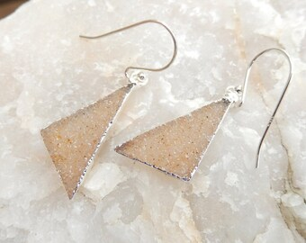 Champagne Druzy Triangle Earrings Silver Crystal Quartz Rock Agate Drusy Free Shipping Jewelry