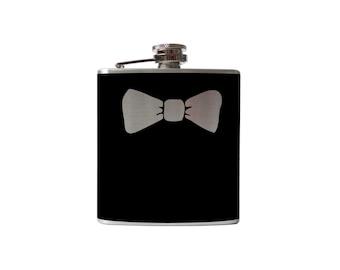 Bowtie Flask- alcohol, liquor, booze, wedding, bridal party, hip pocket- Personalized Custom - YOU pick COLOR, SIZE