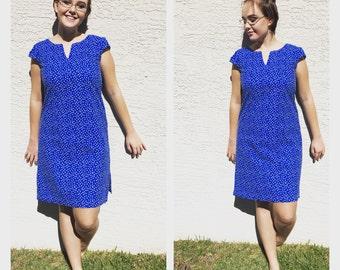 Vintage Dress | Vintage Mini Dress | Shift Dress | Blue Polka Dress