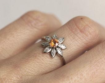 Flower Engagement Ring, Daisy Ring, Sapphire Diamond Ring, Orange Sapphire Ring, Unique Engagement Ring, Minimalvs