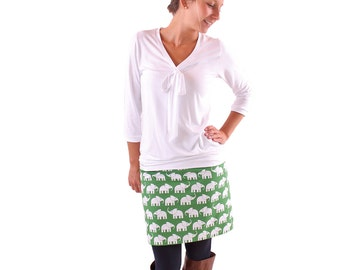 "Mini skirt ""Manfred"" green with white elephants"