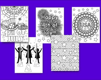 Fourth of July coloring pages 4th of July kids activity Independence Day color sheets Summer kids activity fourth of july party favors print
