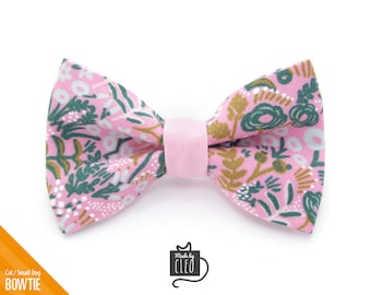 """Pink Cat Bow Tie - """"Freya"""" - Rifle Paper Co® Floral Cat Collar Bow Tie / Kitten Bow Tie / Spring Bowtie - Removable (One Size)"""