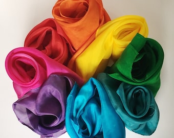 """Play Silks, Waldorf and Montessori inspired hand dyed play silks, 21"""" square, individual marbled colors or sets of 6"""
