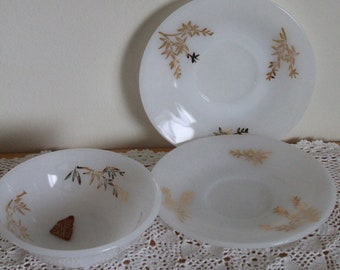 Vintage Federal Glass Dishes, 3 Pieces White Milk Glass with Gold Trim, Golden Glory, Gold Leaves, 22K Gold, 1 Small Dessert Bowl, 2 Saucers