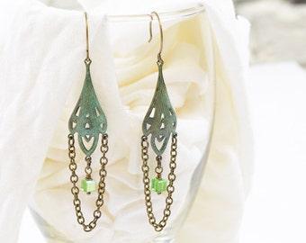 Art Nouveau verdigris patina chain & bead earrings.