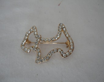 Vintage Gold Tone and Clear Rhinestone/Diamante Scottie/Terrier/Dog Brooch/Pin - 1980s - Glitz, Glamour