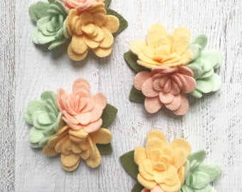 Wool Felt Mum Trios - Sweet Mum Collection Blush Pink - Pastel Felt Flowers - 4 Trios with Leaves