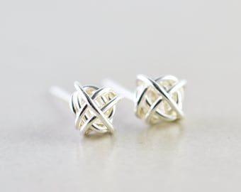 Sterling Knot Earrings, Silver Posts, 7mm Studs, Knotted Jewelry, Love Knots, Bridesmaid Gift, Tie The Knot