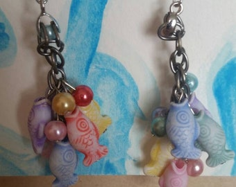 Fish on the line earrings