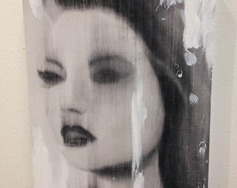 blur girl 3 - embellished print on wood.