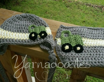 Newborn Tractor Infant Baby Crochet Tractor Diaper Cover Hat Beanie Photo Prop Set