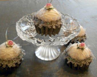 Christmas ball cupcake ivory and taupe pailleté(lot de 4)