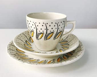 REDUCED Vintage 1950s JAS Broadhurst Kathie Winkle Yellow 'Petula' Teacup, Saucer and Side Plate Set