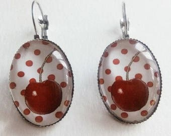 beautiful cherry earrings on polka dots