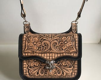 "Handbag ""Mel"" tooled leather, floral and basket braid"