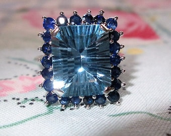 RING  -  10 K White GOLD - Blue  TOPAZ  - Sapphires -  Sterling Silver - size 7 1/2  Blue491