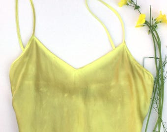 Eco-dyed Silk Camisole: Electric Yellow Oxalis, Medium