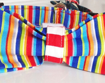 Blue, Red, & Orange Striped Male Dog Bow Tie Collar