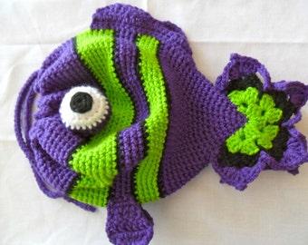 Fish Drawstring Purse - Fish Purse - Clownfish Purse - Clownfish Drawstring Purse - Fish Bag - Fish Tote - Fish Pouch - Purple Fish Purse