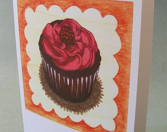 5 x7 Notecard - A008 CUPCAKE - cupcake card - birthday card - happy birthday - thank you card - congratulations card - food illustration