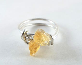 Raw Citrine Wire Wrapped Ring