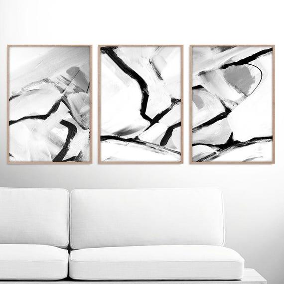 Abstract art print set 3 black white abstract art