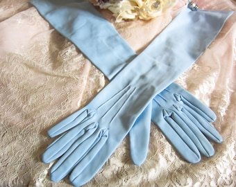 Wedding gloves, long prom gloves, pale blue gloves, elbow length, Vintage blue gloves, long length gloves, bridesmaid gloves, bridal gloves