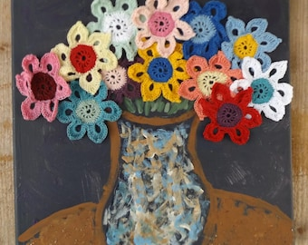 Vase of Flowers Crochet and Painted Wall Art Thread Crochet Doily
