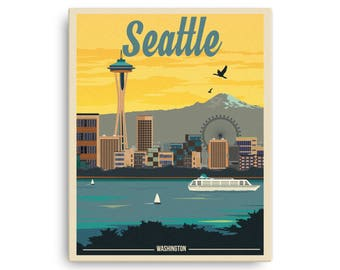 Seattle Washington | Vintage Travel Poster on Canvas (16x20in)