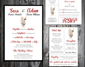 Baseball Heart Wedding Personalized and Printed Invitations, RSVP Postcards, Reception Hotel Inserts w/ FREE Envelope seals