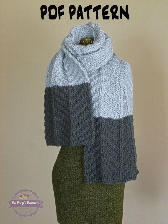 Knit Scarf Pattern Color Block Scarf KNITTING PATTERN