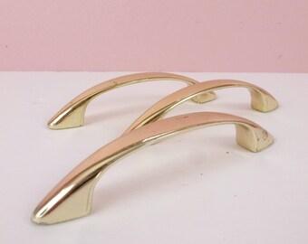 Vintage Brass Arch Pulls Mid Century Cabinet Handles Hardware / MCM Atomic Era Restoration Salvage