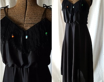 Vintage '70s Black Dress, Beaded Fringe Neckline, Tie Straps, Handkerchief Hem, Small