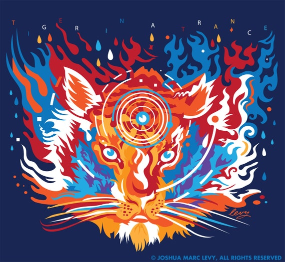 "Large T ""Tiger In A Trance"" Grateful Dead T-Shirt hvTsAdi6B"