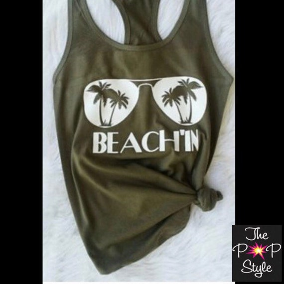 Beach'in Olive Green Racer Back Tank Top Ladies Fit
