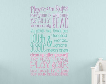 Playroom Rules Wall Decals, Kids Wall Decals, Girls Wall Decor, Girls Bedroom, Custom Vinyl Decals, Choose your colors