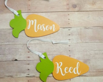Custom name tags personalized easter tag personalized gift carrot tag easter basket name tag rustic wood ornament gift tags stocking tag negle Image collections