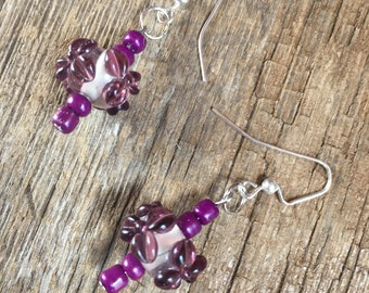 purple lampwork earrings, purple dangles, affordable earrings, gift for her, inexpensive earrings, purple jewelry, earring gift, addict