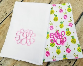 Monogrammed Baby Girl Burp Cloth, Personalized Baby Girl Burp Cloths, Baby Shower Gift, Pineapple, Pink and Green