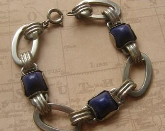 Modernist Bracelet, Geometric Link Bracelet, Lapis Blue Stone Bracelet, Vintage Midcentury Bracelet, Mid century modernist