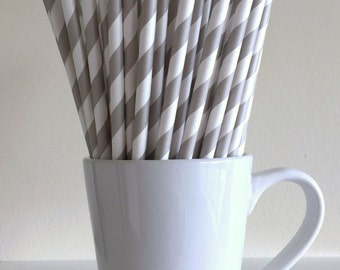 Gray Paper Straws Grey Striped Party Supplies Party Decor Bar Cart Cake Pop Sticks Mason Jar Straws Graduation