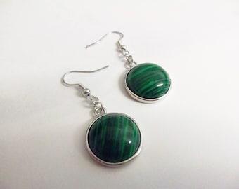Green howlite stone cabochon earrings