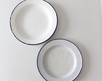 vintage enamelware plate collection, 2 white and blue enamel plates