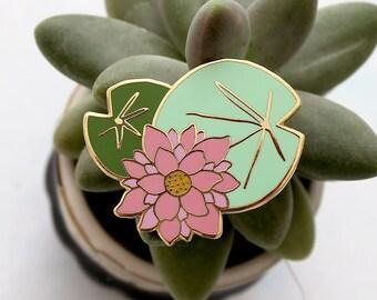 Water Lily Enamel Pin | Lotus Flower Pin | Pond Life Enamel Pin