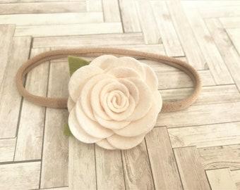 felt flower headband  - nylon band - ivory